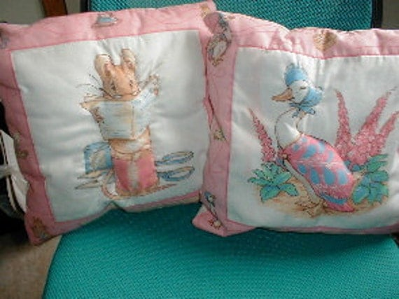 2 Brand New Beatrix Potter pillows Pink Borders