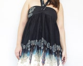 Tribal Print Handmade Halter Neck/Strapless Dress in Black, Long Top...All in One and One Size Fits All
