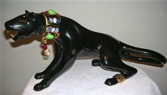 Art deco ceramic black panther - Black panther ceramic sculpture ...