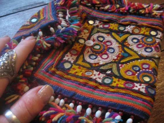 Unique Old Work Banjara Embroidered Fold Up Purse