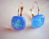 Stardust Blue Earrings  Dichroic Fused Glass  Leverbacks