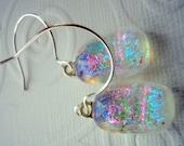 Fused Glass Earrings Sterling Hoops Fireworks on Ice