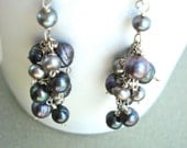 SALE 30% OFF. Gray pearl cascade earrings.