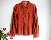 Reserved for Anne - Burnt Orange Corduroy shirt  White pearly buttons