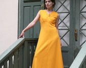 Orange Diva - Crimplene 1960 goddess dress gown