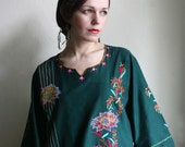 Green Embroidered Indian Tunic size XXL