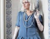 RESERVED - Cerulean Blue Colombina Dress - 1980ies Ruffle dress