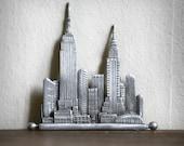 Vintage New York Manhattan silhouette Metal pin