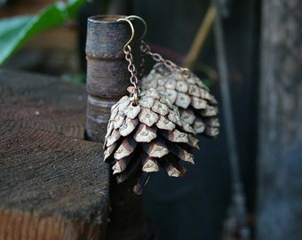 Pinecone earrings - Natural eco friendly Jewelry, Baltic pinecones Pixie, tolkien, fairy tale wedding accessorie