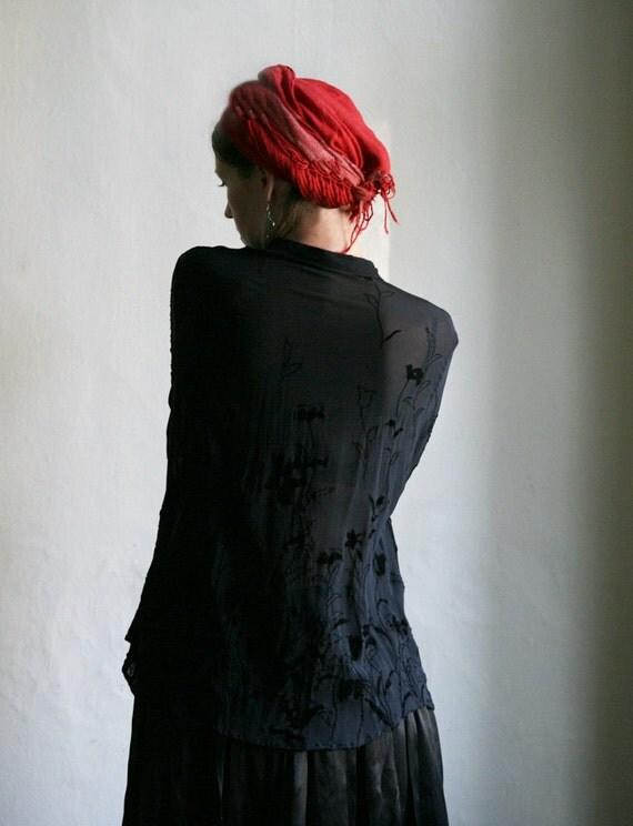 SALE - Black Blouse with Velvet flower Ornaments size L