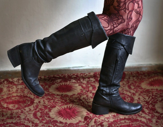 Black Leather Rebel riding Boots size 10