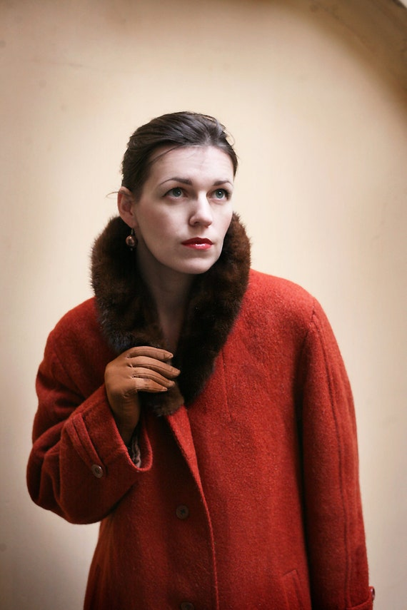 Brick Orange Wool coat  Mink collar 1960ies
