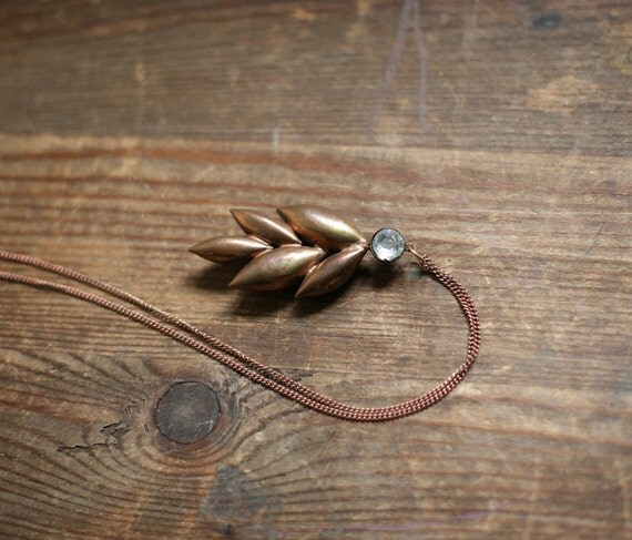 Antique Copper Leaves and Rhinestone flapper pendant on Chain