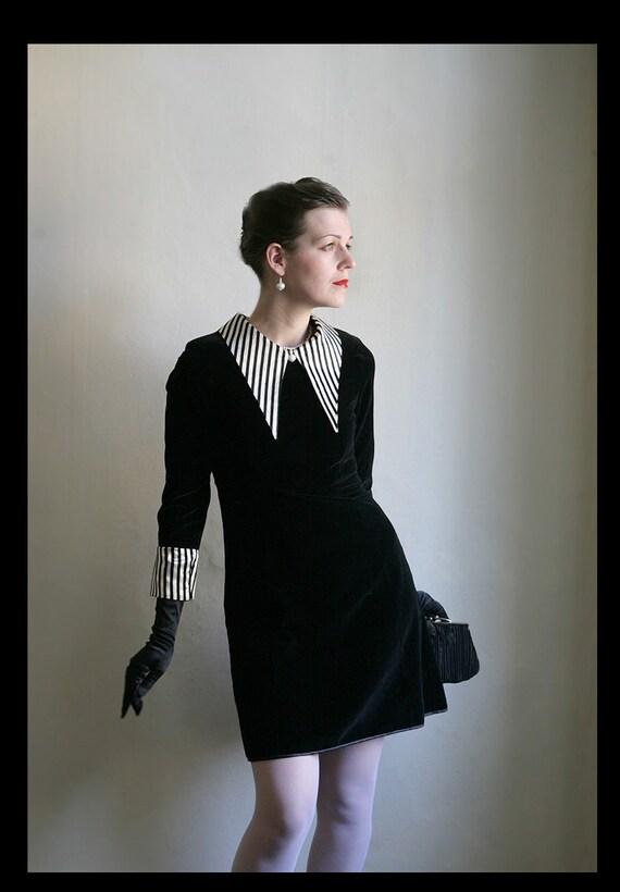 Black Velvet Dress with Striped Collar