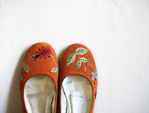 Orange Suede flats size 9 with Butterfly and Ladybirds