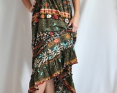 Army green printed maxi dress