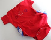 Baby Girls 4th of July ruffle butt star onesie in Red