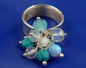FREE SHIPPING Texture Silver Ring with Charm stones - R1024 - ElenadE