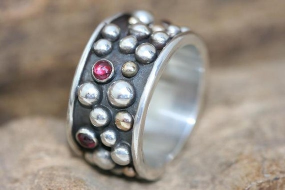 Sterling Silver Ring, Handmade Sterling Silver Jewelry, Garnet Ring, Silver & Gold Balls, January Birthstone, Solid Silver, Heavy Ring