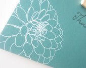 LAST SET Bloom Floral Thank You Cards Set Of 10, Gift Set Teal and White Dahlia