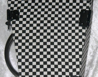 Black and White Checkered Coffin Case