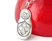 Matryoshka Necklace, Sterling and Fine Silver, Hand Stamped
