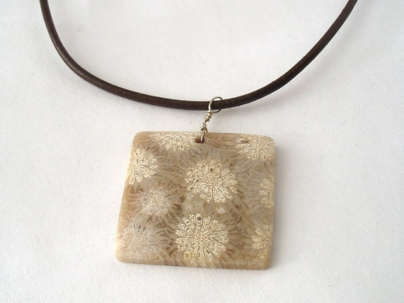 Fossil Coral Necklace on Leather Cord