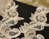Ivory Bridal Lace applique - Item number IV-1008 ( 2 pieces)