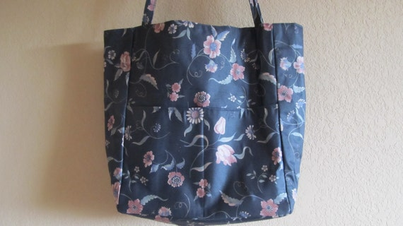 Vintage Fabric Large Tote, With Pockets Inside and Out, Floral, Knitting Projects