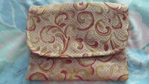 Paisley Brocade Accessory Bag or Wallet, Eco Friendly, Gold and Red, Small