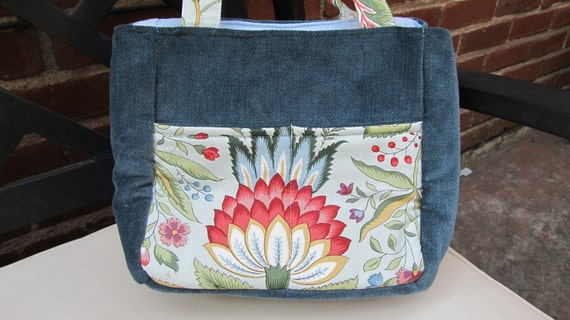 Designer Fabric and Chenille Upholstery Small Project Bag, Self Standing