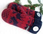 Handmade Mittens, Upcycled Wool, Ladies or Teens, Moose Mountain
