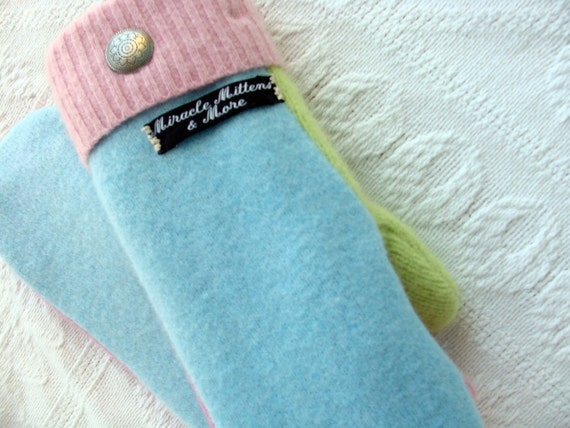Handmade Mittens, Upcycled Wool, Ladies or Teens, Pretty Pastels
