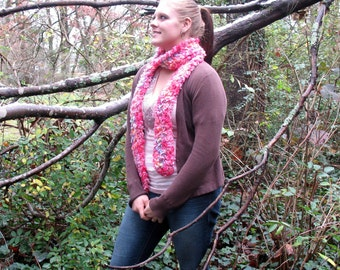 Soft Hot Pink Multi Colored Textured Scarf