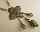 Vintage Inspired Olive Quartz, Crystal, and Unakite, and Antiqued Brass Necklace Set