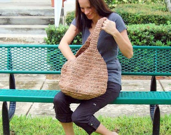 Eco friendly tote bag, large market, beach, shopping, crocheted with plarn