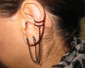 Weekend SALE - 10% Off ( insert Coupon Code WEEKEND11 ) - Black - Non piercing Ear Cuff -  Earring  Silver Pl. with Double Chain