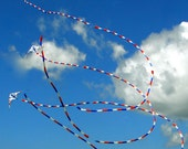 Childs Room Decor, Kite FlyingPhotograph, Blue Skies, White Puffy Clouds, Nursery Decor, Playroom Decor, Flying Kites