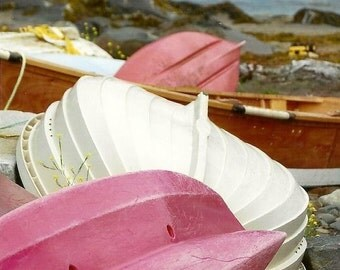 Nautical Prints, Boat Photograph, Pink and White, Row Boats, Pink Nautical Decor, Cottage Decor, Beach House, Cottage Style