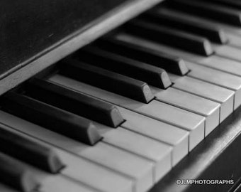 Piano Keys Photograph, Black and White, Music Room Decor, Home Wall Decor, Music Decor, Piano Wall Art, Band Room Art, Playing Music