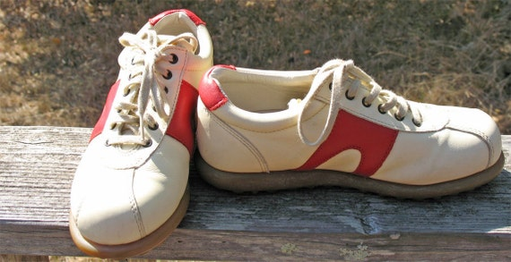 Size 36 Euro Size 6 American Leather Hip Hop Hipster   CAMPER SHOES  Rock and Roll Red And Cream AWESOME  80s Never Worn  Preppy Sport Shoe