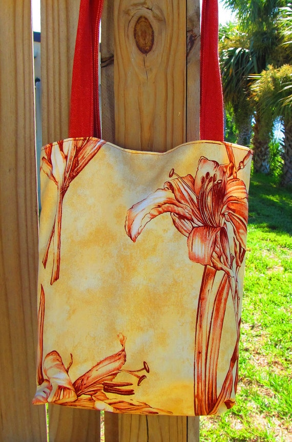 Red and Gold Lilly Tote