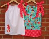 Pillowcase Dress - Applique Seahorse in Bubblegum Ta Dot on Solid White - Custom 3m, 6m, 9m, 12m, 18m, 2t, 3t, 4t, 5, 6