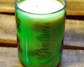 Soy Candle in Recycled Raised Letter Green Glass Beer Bottle