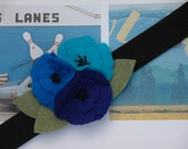 Royal Blue, Aqua Turquoise, Navy Blue Felt Flower Headband Hair Clip Barrette with Sage Moss Green Leaves and Black Beads-Violets are Blue