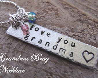 Grandma Brag Necklace with her Grandchildren's Birthstone Crystals