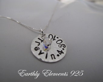 Hammered Childs Name with Date and Birthstone Crystal Necklace