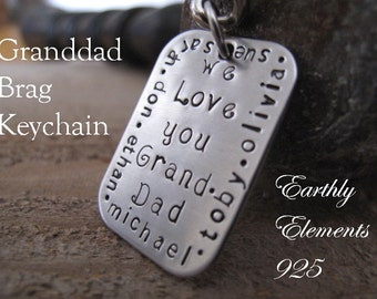 GRANDDAD Brag Keychain made of Stainless Steel with a Satin Finish - Personalize with his grandkids names