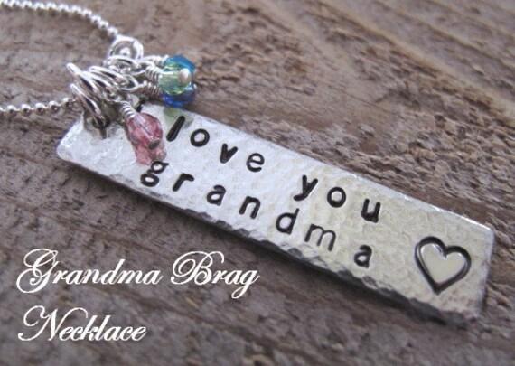 Grandma Brag Necklace with her Grandchildren's Birthstone Crystals