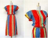 80s primary colors brushstroke rainbow dress (medium)